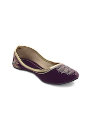Paduki Women Purple & Gold-Toned Embroidered Mojaris