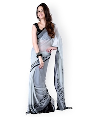 Moiaa White & Black Georgette Printed Saree
