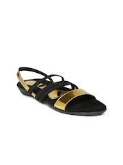 Catwalk Women Black & Gold-Toned Flats