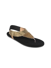 Shoetopia Women Gold-Toned Embellished Sandals
