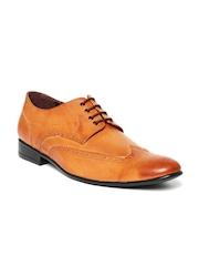 San Frissco Men Tan Brown Leather Semiformal Shoes