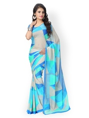 Vaamsi Blue & White Chiffon Printed Saree