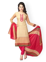 Vaamsi Beige & Pink Printed Crepe Unstitched Dress Material