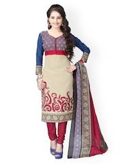 Vaamsi Beige & Red Printed Crepe Unstitched Dress Material