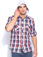 Breakbounce White & Red Checked Street Smart Slim Fit Casual Shirt