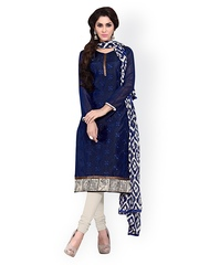 Saree mall Navy & Beige Embroidered Unstitched Dress Material