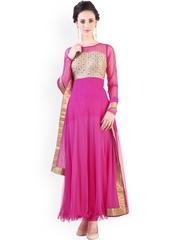 Libas Pink Anarkali Polyester Churidar Kurta with Dupatta