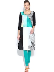 W White & Black Colourblock Printed Kurta