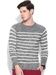 Jack & Jones Navy & Off-White Striped Sweater