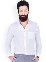 MR BUTTON White Slim Fit Smart Casual Shirt
