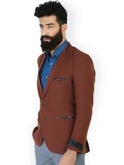 MR BUTTON Rust Red Linen Slim Fit Blazer