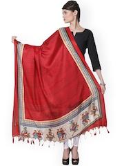 Varanga Red Printed Bhagalpuri Silk Dupatta