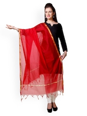 Varanga Red Chanderi Cotton Dupatta