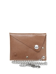 United Colors of Benetton Men Brown Leather Wallet with Chain Strap