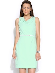 Wills Lifestyle Mint Green Sheath Dress with Belt