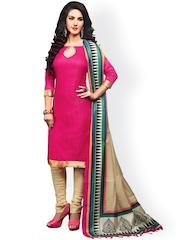 Saree mall Pink & Beige Silk Unstitched Dress Material