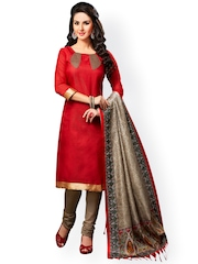 Saree mall Red & Brown Silk Unstitched Dress Material
