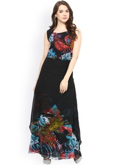 Athena Black Printed Layered Maxi Dress
