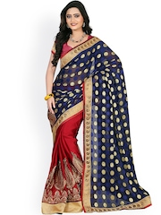 Colors Blue & Red Chiffon Jacquard Embroidered Saree
