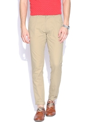 John Players Beige Balloon Fit Casual Trousers