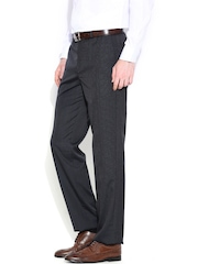 Wills Lifestyle Grey Pin-Striped Formal Trousers