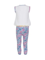 Jazzup Girls White & Blue Printed Jumpsuit