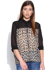 Envy Me Black Sheer Animal Print Shirt