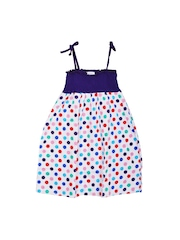 Lil Orchids Girls Purple & White Polka Dot Print Fit & Flare Dress