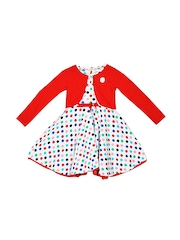 Lil Orchids Girls White & Red Polka Dot Print Fit & Flare Dress