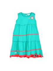 Lil Orchids Girls Green A-Line Dress