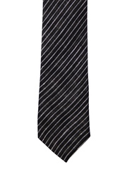 The Tie Hub Black & White Striped Linen Tie