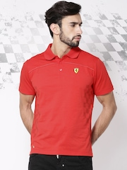 Ferrari Red SF Check Flag Polo T-shirt