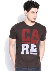 Being Human Clothing Coffee Brown Flock Print T-shirt