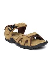 Woodland Men Camel Brown Leather Sports Sandals
