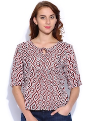 Sepia White & Red Printed Top