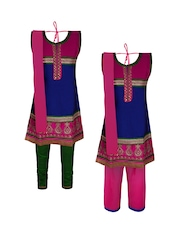 Jazzup Girls Set of 2 Embroidered Salwar Suits with Dupattas
