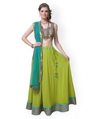 9rasa Green & Copper-Toned Sequinned Lehenga Choli Material with Dupatta