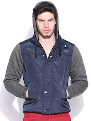 Duke Navy Panellled Jacket with Detachable Hood