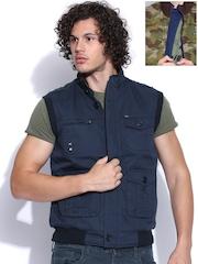 Duke Navy & Green Reversible Sleeveless Jacket