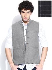 Duke Black & Grey Melange Reversible Nehru Jacket