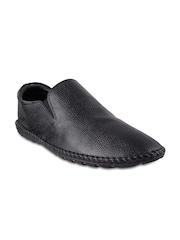 Mochi Men Black Leather Semiformal Shoes