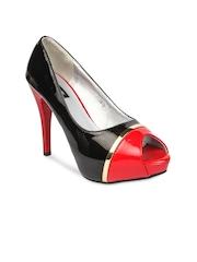 Jove Women Black & Red Peep-Toes