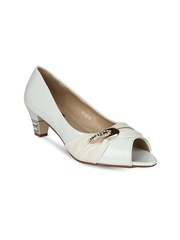 Jove Women White Embellished Peep-Toes
