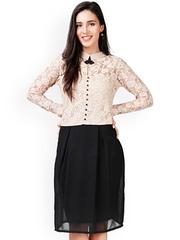 Eavan Beige & Black Lace A-Line Dress