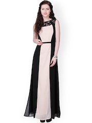 Eavan Beige & Black Polyester Georgette Maxi Dress