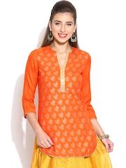 BIBA Orange Printed Kurti