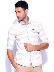 Noble Faith Light Blue & Peach Checked Casual Shirt