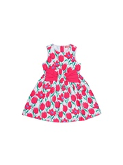 Nauti Nati Girls Pink & White Printed Fit & Flare Dress