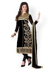 Khushali Black Embroidered Georgette Unstitched Dress Material
