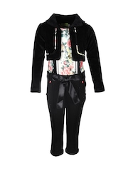 CUTECUMBER Girls Red & Black Printed Jumpsuit with Jacket